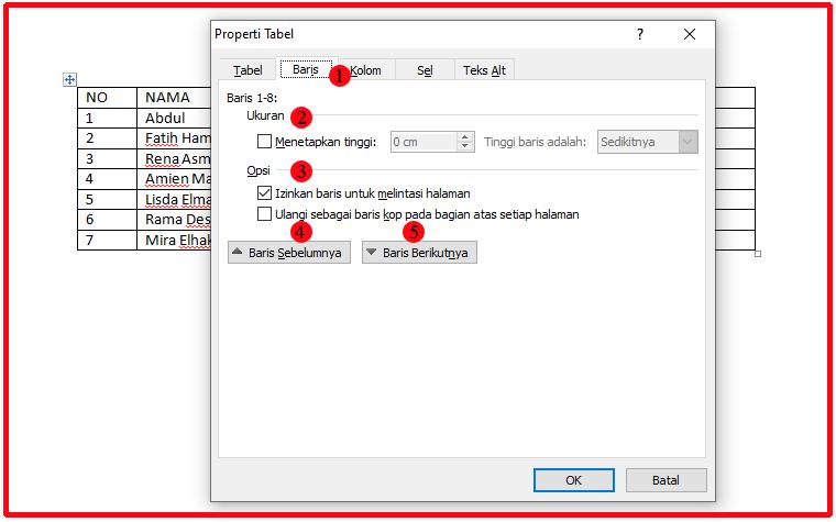 cara agar tabel tidak terpotong di word