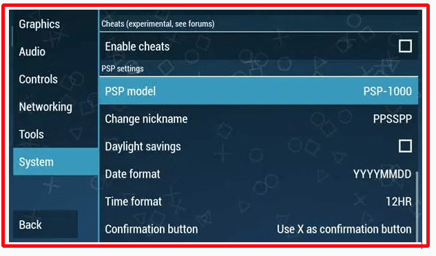setting ppsspp gold