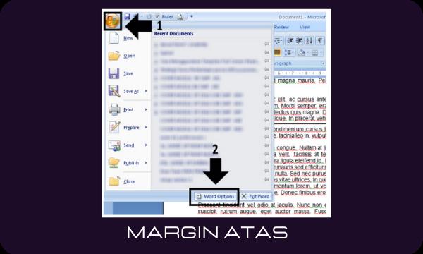 cara menampilkan margin atas yang hilang di Microsoft Word 2007
