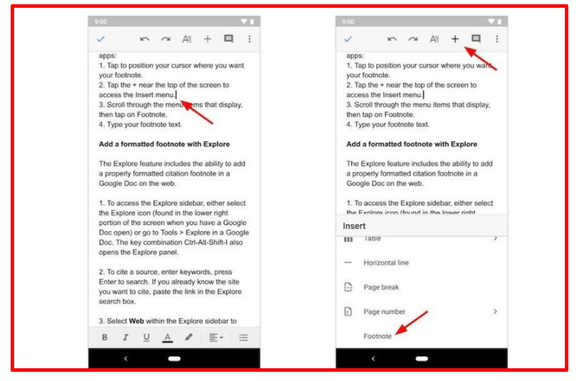 cara membuat footnote di google docs